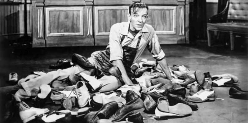 Fred Astaire in a pile of dance shoes