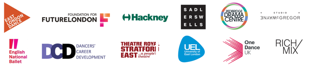 East London Dance | Dance Ideas Enterprise Fund | Supported by Hackney Council, Sadler's Wells, Rich Mix, One Dance UK, Studio Wayne McGregory